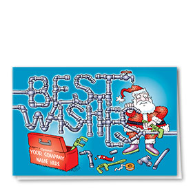 Construction Christmas Cards - Santa the Plumber
