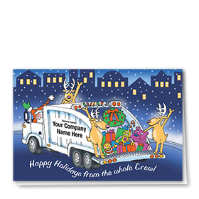 Construction Christmas Cards - Cheerful Reindeer