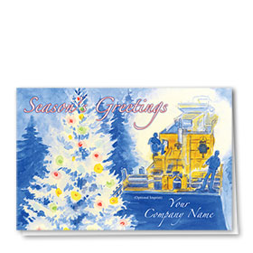 Construction Christmas Cards - Festive Tree Lights