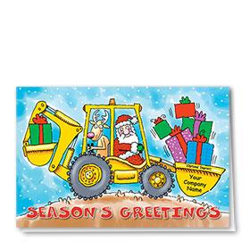 Construction Christmas Cards - Santa's Backhoe