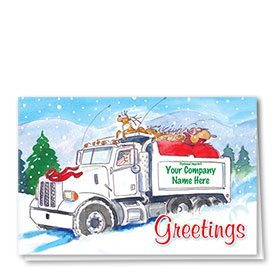 Construction Christmas Cards - Hauling Santa