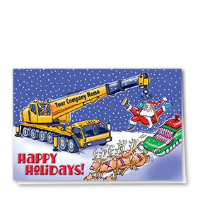 Construction Christmas Cards - Giving Santa a Lift
