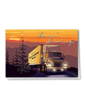 Trucking Christmas Greeting Cards - Sunset Lights