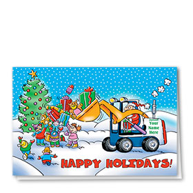 Construction Christmas Cards - Santa's Bobcat