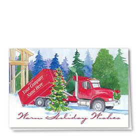 Trucking Christmas Cards - Deluxe Pine Roll-Off