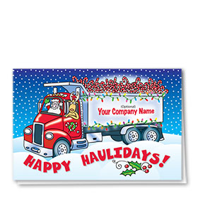Trucking Christmas Greeting Cards - Candy Cane Load