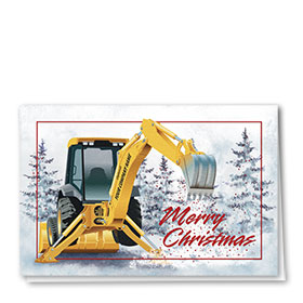 Construction Christmas Cards - Woodland Backhoe