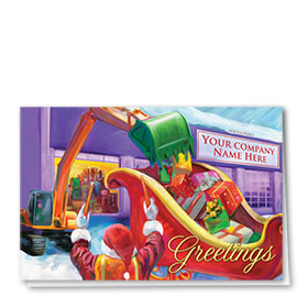 Construction Christmas Cards - Filling the Sleigh