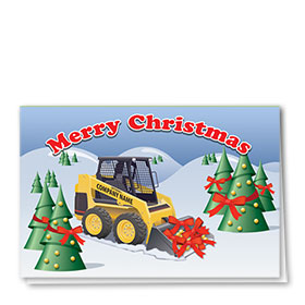 Construction Christmas Cards - Cheery Bobcat