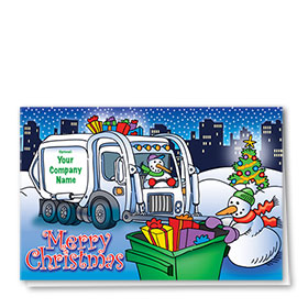 Construction Christmas Cards - Snowman Pick-Up