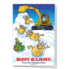 Construction Christmas Cards - Reindeer Slide