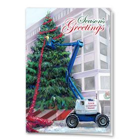 Holiday Card-Red Garland Crane