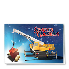 Construction Christmas Cards - Gift Crane