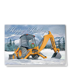 Construction Christmas Cards - Country Backhoe