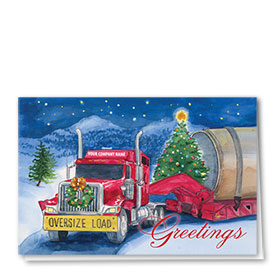 Trucking Christmas Cards - Crimson Lowboy