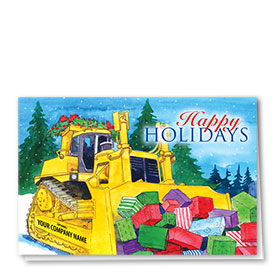 Construction Christmas Cards - Colorful Gifts Dozer