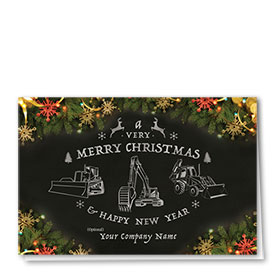 Construction Christmas Cards - Chalkboard Construction