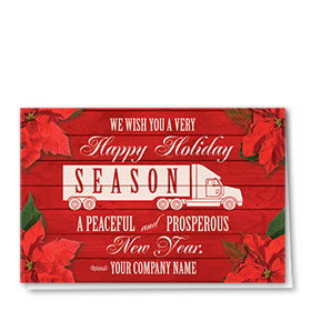 Trucking Christmas Cards - Scarlet Poinsettia