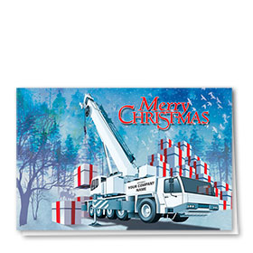 Construction Christmas Cards - White Crane
