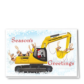 Construction Christmas Cards -Excavator Sleigh