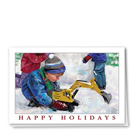 Construction Christmas Cards - Toy Excavator