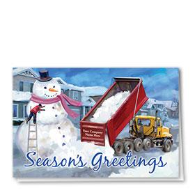 Construction Christmas Cards - Giant Snowman
