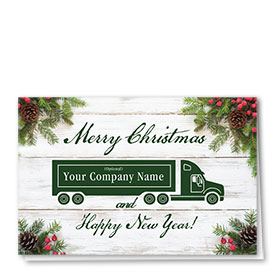 Trucking Christmas Cards - Dark Green Truck