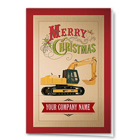Construction Christmas Cards - Old Time Excavator