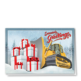Construction Christmas Cards - Bows Dozer