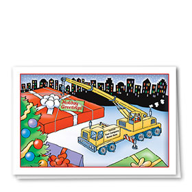 Construction Christmas Cards - Crane Delivery