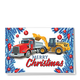 Construction Christmas Cards - Red, White and  Bulbs