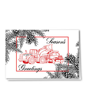 Construction Christmas Cards - Black and White Pine