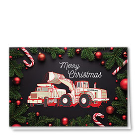 Construction Christmas Cards - Candy Cane Pair