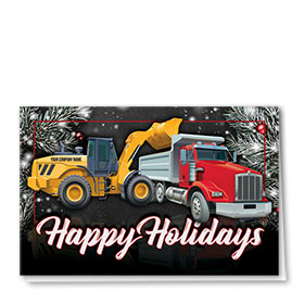 Construction Christmas Cards - Dark Pine Duo