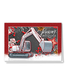 Construction Christmas Cards  - Burgundy Excavator
