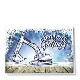 Construction Christmas Cards - Blue Excavator