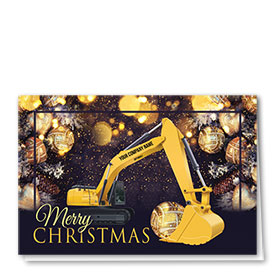 Construction Christmas Cards - Glittering Excavator