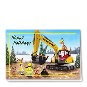 Construction Christmas Cards - Santa and Reindeer Excavator Fun