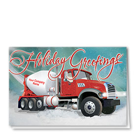 Construction Christmas Cards - Teal Winter Concrete