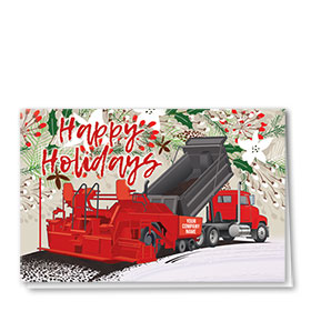 Construction Christmas Cards  - Holiday Red Paver