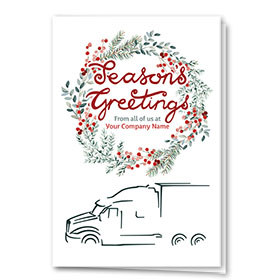 Trucking Christmas Cards - Greetings Wreath