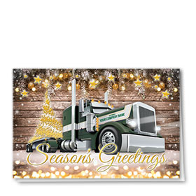 Trucking Christmas Cards - Woodsy Flatbed