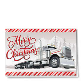 Trucking Christmas Cards - Candy Stripe Flatbed