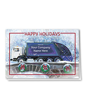 Trucking Christmas Cards - Blue Refuse