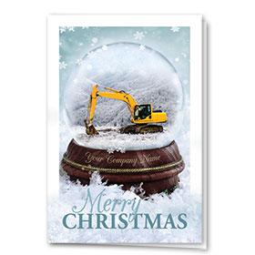 Construction Christmas Cards - Excavator Snowglobe