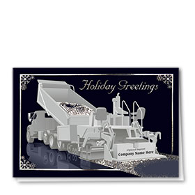 Premium Foil Construction Holiday Cards - Midnight Paving