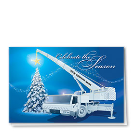 Premium Foil Construction Holiday Cards - Shimmering Star Crane