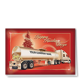 Premium Foil Trucking Holiday Cards - Sparkling Tanker