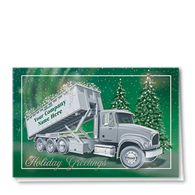 Premium Foil Trucking Holiday Cards - Silver Frame Roll-Off
