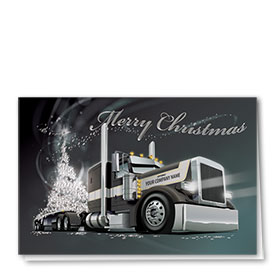Premium Foil Trucking Holiday Cards - Glittering Tree